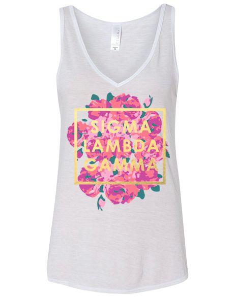 Sigma Lambda Gamma Floral Tank by Adam Block Design | Custom Greek Apparel & Sorority Clothes | www.adamblockdesign.com