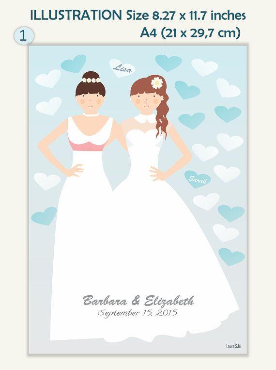Lesbian custom Wedding lesbian wedding guest por Ilustracionymas
