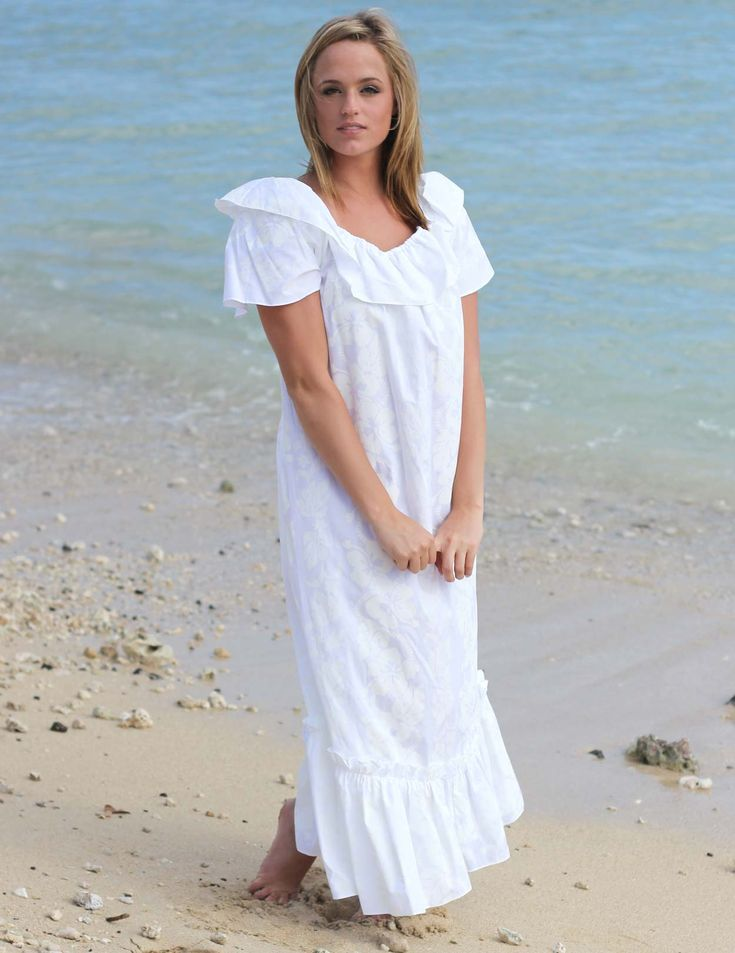 Check out the deal on Long Ruffle White Muumuu Hawaiian at Shaka Time Hawaii Clothing Store