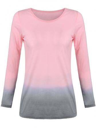 T-shirt de cor gradiente de xs-5xl mulheres casuais