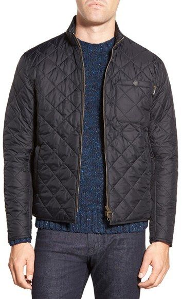 Barbour 'Axle' Slim Fit Diamond Quilted Moto Jacket