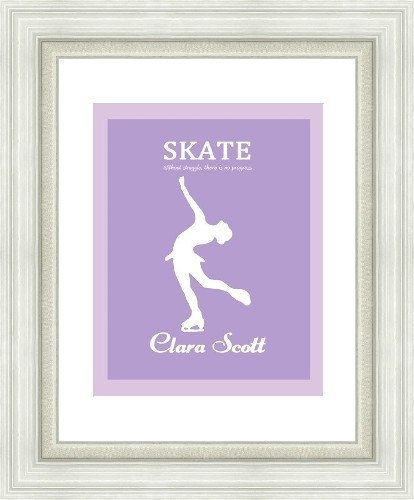 Girls christmas gift idea. Figure Skating Artwork. Personalized with name and colour. 5x7 .jpg image. $10 CND. Design by Gumball Prints.