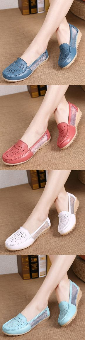 US$15.12 Breathable Hollow Out Lace Slip On Leather Casual Flat Shoes_Floral Shoes_Women Flat Outfits