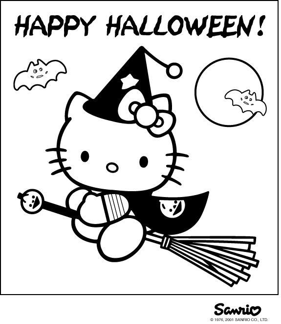 Halloween Coloring Page With Hello Kitty Dressed As A Witch Free Printable Pages