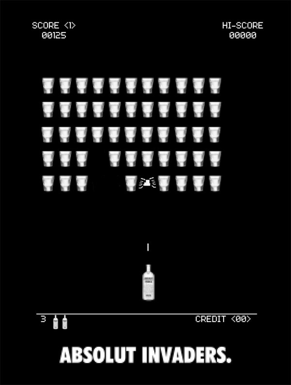 Absolut Invaders by Claudio Coutinho, via Behance