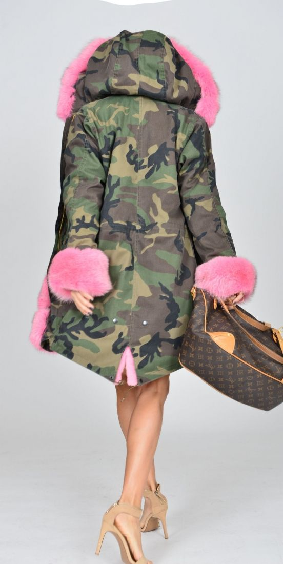 american parka with fur -  military camouflage parka coat saga fox fur                                                                                                                                                     More