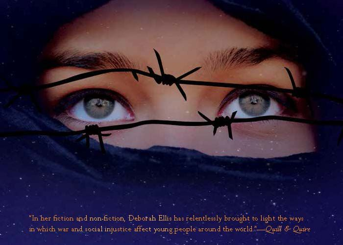 Promotional postcard for Moon at Nine by Deborah Ellis. A riveting novel set in Iran, where sexual orientation can have deadly consequences. Based on a true story.