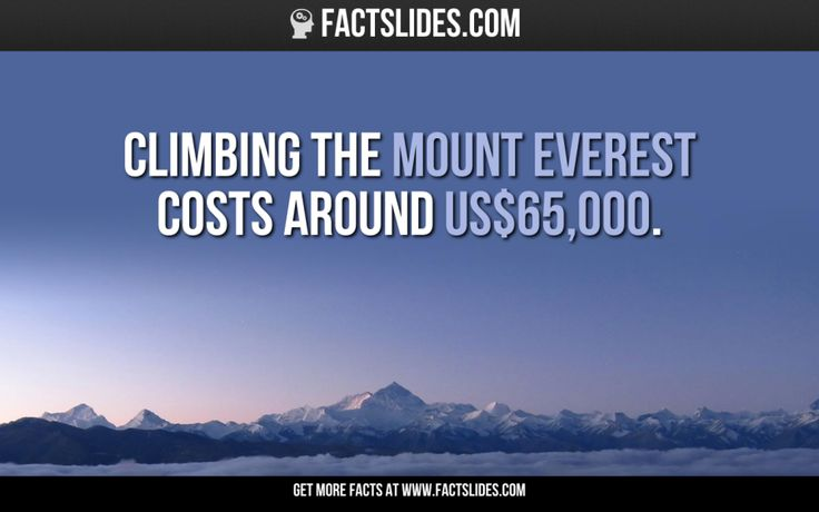 Climbing the Mount Everest costs around US$65,000.