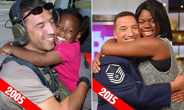 MISSISSIPPI.. Katrina  little Girl brings Air Force vet who rescued her to JUNIOR BALL  | Daily Mail Online