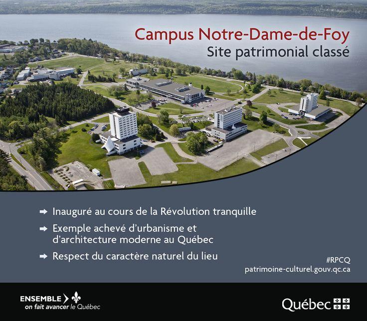 Aménagé entre 1963 et 1965, le campus Notre-Dame-de-Foy forme un ensemble consacré à l'enseignement collégial. #PatrimoineQc #RPCQ