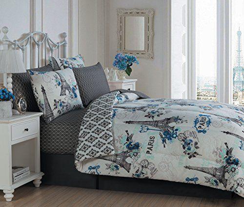 Blue/Gray, Vintage Paris Themed (8-Piece) King Comforter