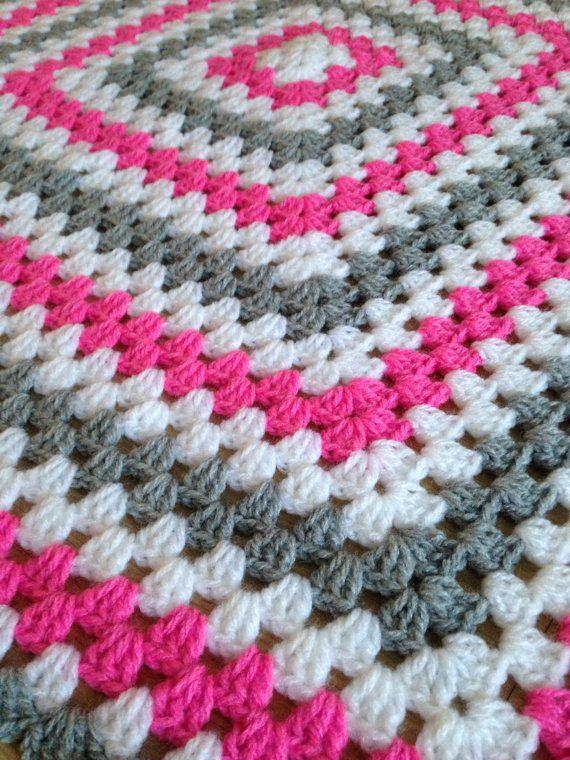 crochet blanket pink white grey girl retro by