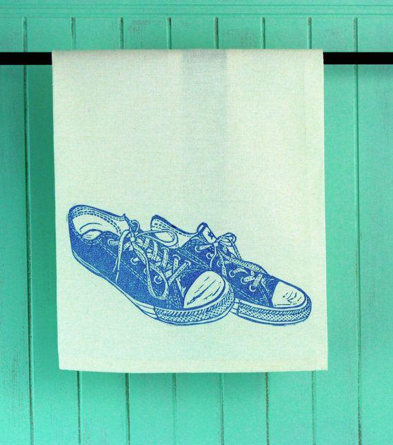 Block Printed, Blue Sneakers Tea Towel #brindylinens #blockprint #teatowel #hemp #cotton #printed #treatyoself #newfoundland #sneakers
