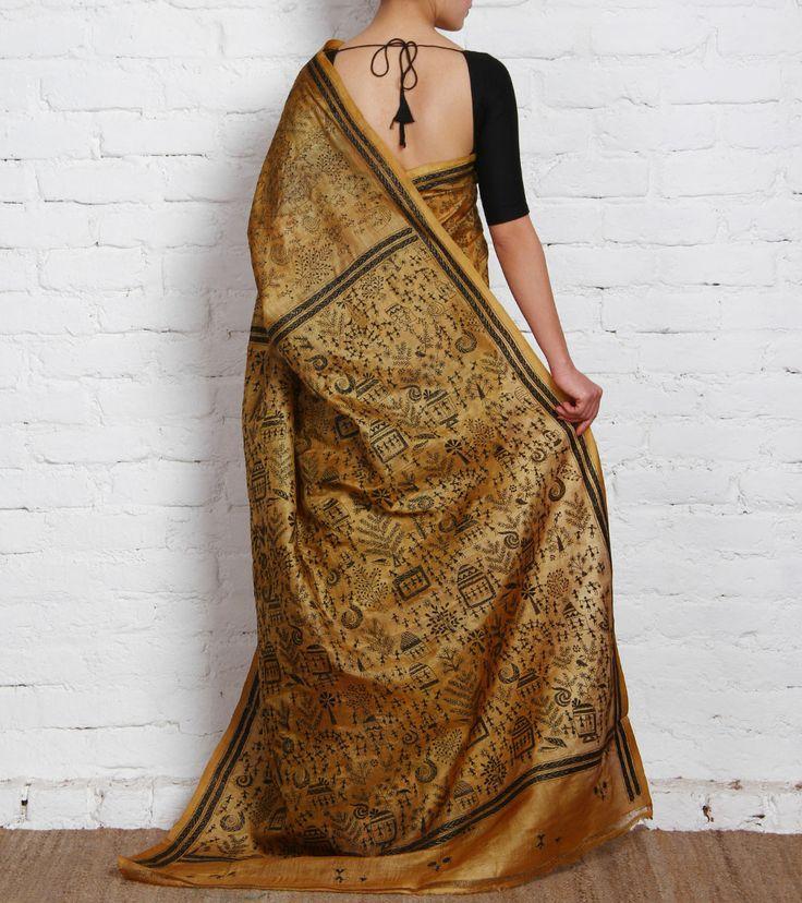 Beige Tussar Silk Saree with Kantha Work