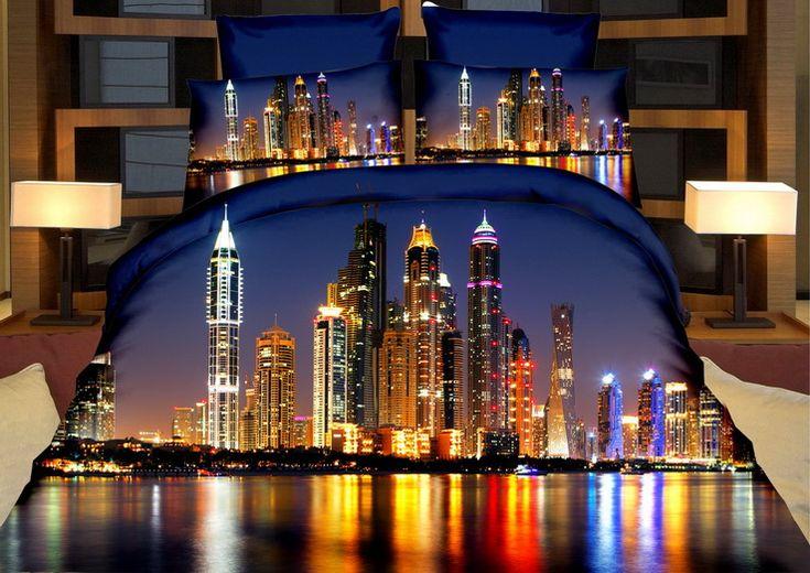 Odbijające się nocne miasto w wodzie pościel koloru granatowego