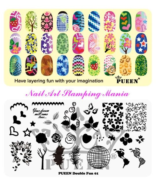 Nail Art Stamping Mania: Pueen Double Fun 01 (Layering Collection) Stamping Plate - Swatches and Review