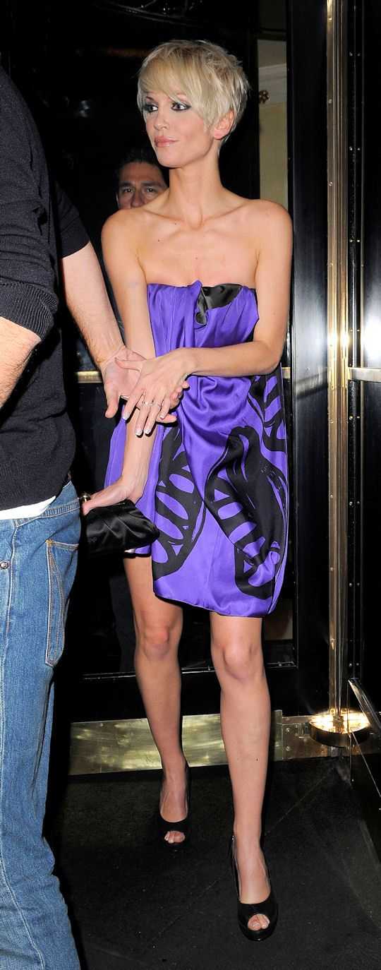Sarah Harding (from Girls Aloud) was spotted wearing a revealing purple dress