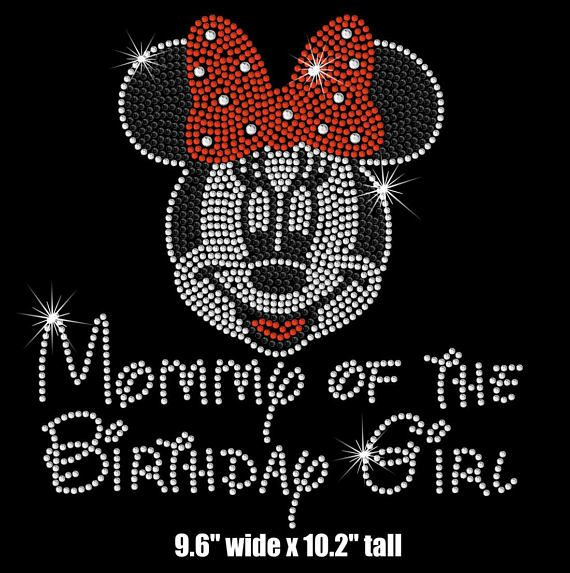 BIG Minnie Mouse Mommy of the Birthday Girl iron on rhinestone transfer  with pink or red bow 9121580b37d9