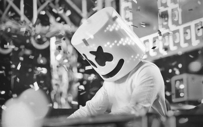Download wallpapers Marshmello, DJ, monochrome, party, superstars, DJ Marshmello