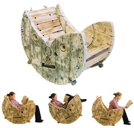 Nice repurpose project: A rocking chair from a cable spool:) Paint would make it perfect!