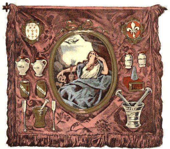 Société d'Histoire de la Pharmacie: La bannière de la Confrérie des apothicaires de Lille (1716) Au centre, Sainte Madeleine, patronne de la Confrérie) (Ouvrage de Maurice Bouvet, 1937)
