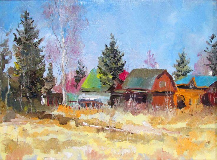 Март - Картина,  40x30x2 cm ©2016 - Igor Pautov -                                                            Импрессионизм, Холст, Времена года, март, весна, пейзаж, March