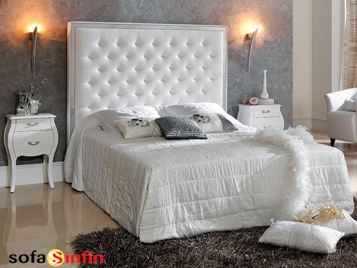 Cabecero de cama tapizado en piel y polipel modelo Valeria fabricado Dupen en Sofassinfin.es