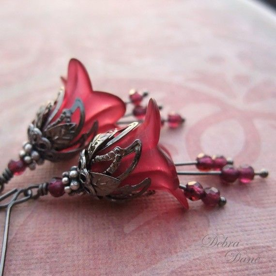 Garnet Earrings Flower Earrings January Birthday Birthstone Wine Merlot Lily Bridesmaid Bridal Wedding Dipped in Wine