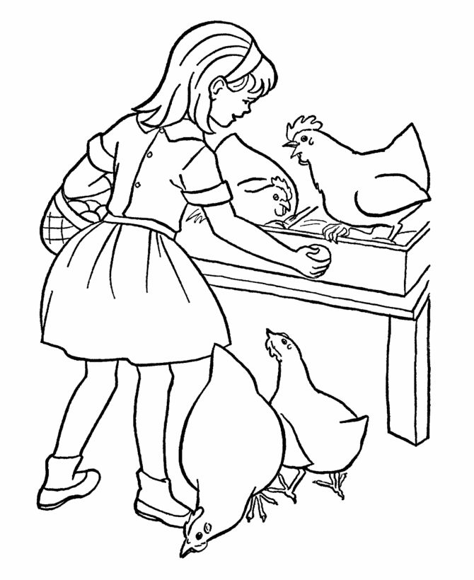 farm work and chores coloring page farm girl collecting eggs