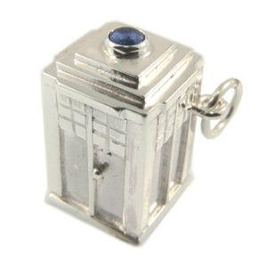 Sterling Silver & Sapphire Tardis Charm. Handmade by Sam Drummond at Cameron Jewellery