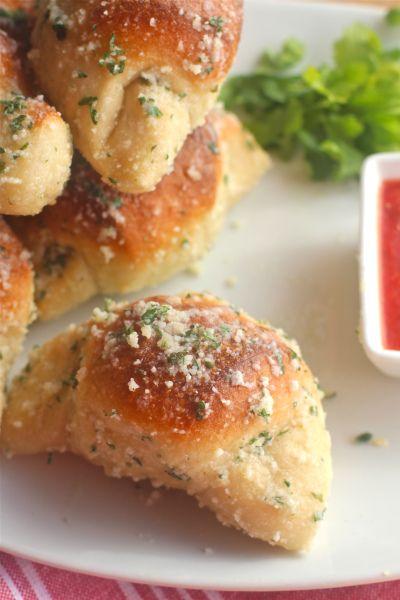 Yumm! Homemade garlic parmesan crescents.