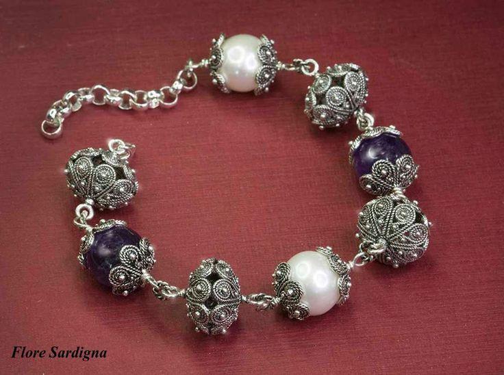 Bracciale argento perle e ametista. Flore Sardigna