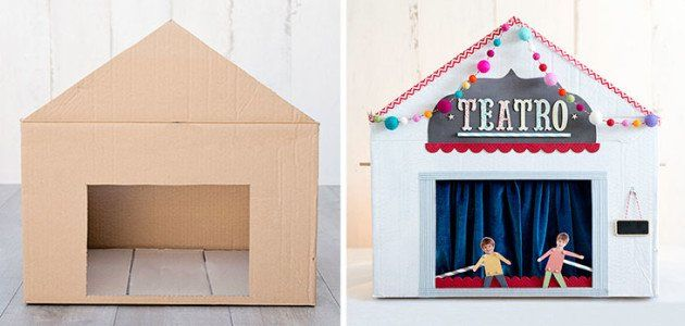6 Marionetas y títeres caseros para montar tu propio teatro-Teatro de cartón