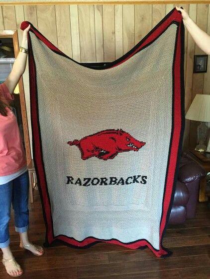 Arkansas Razorback Crochet Afghan For Jimmy S Birthday