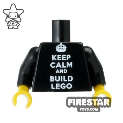 Custom Design Torso - Keep Calm and Build LEGO - Black