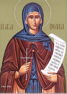St. Pelagia the Righteous (Feast Day - October 8) 4th century martyr who chose to repent and live a life of sanctity. While various stories about her life may not be true, we do know that she loved God enough to give her life for her faith.
