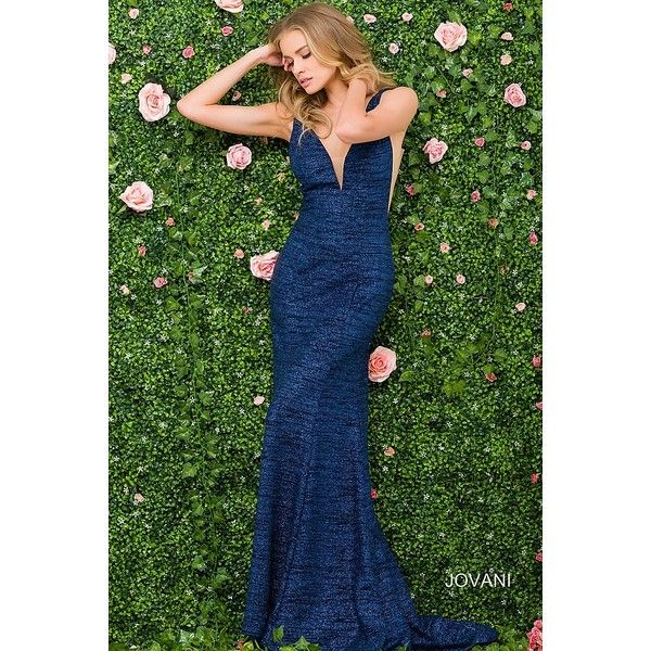 Navy long sleeveless jersey fitted dress with plunging neckline. ❤ liked on Polyvore featuring dresses, green dress, navy prom dresses, fitted prom dresses, prom dresses and long tight dresses
