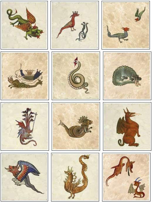 Medieval dragons on marble tiles, part 2