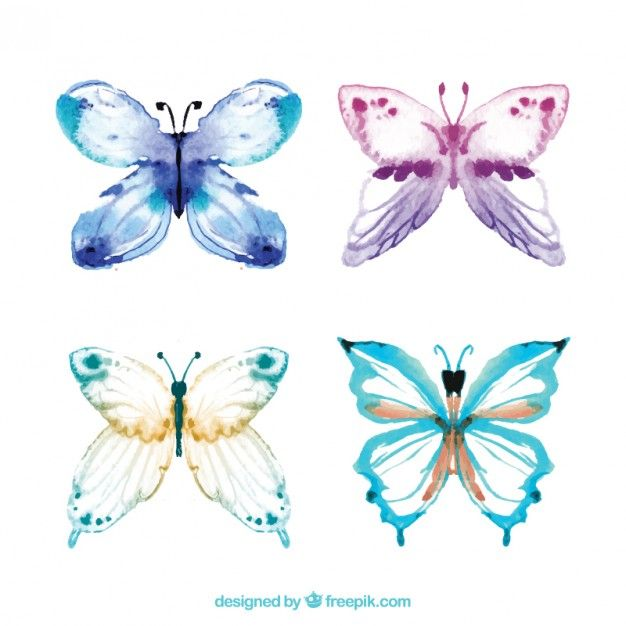 Free vector Hand painted butterflies #621