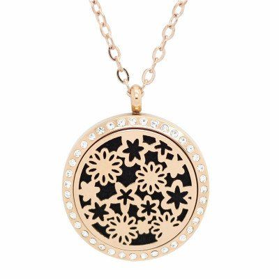 Flower Works Rose Gold with Crystals Aromatherapy Essential Oil Diffuser Locket Necklace
