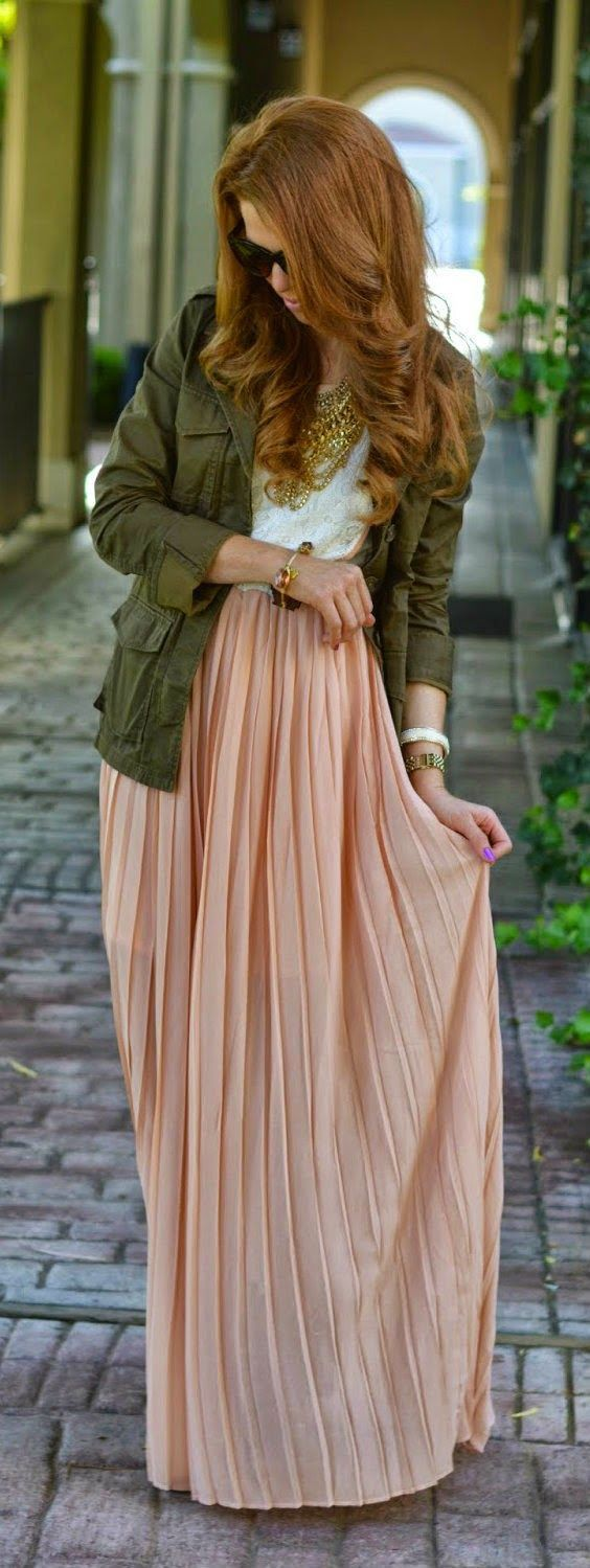 keep warm on chillier days by wearing your military jacket over a maxi skirt and tank.