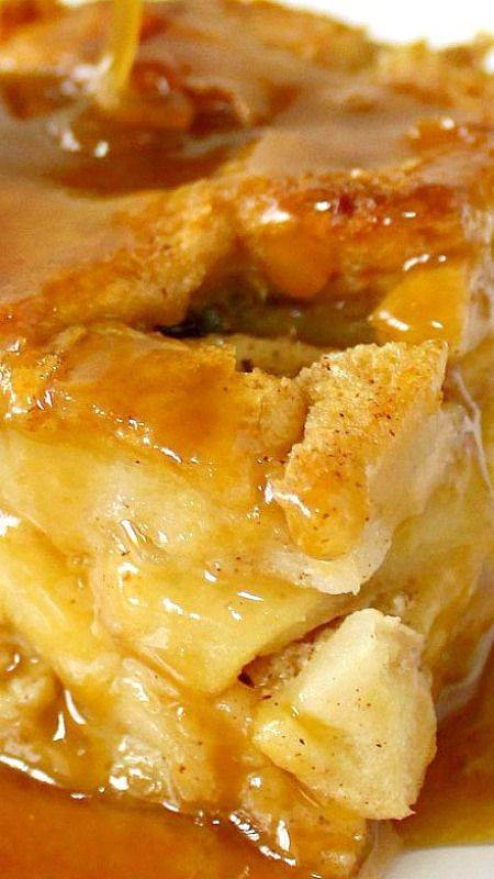 Drunken Apple Bread Pudding ~The top is a little crisp, inside is moist with a soft but firm-ish texture, the bread cubes soaking up all the custard-y goodness that only cinnamon and rum can bring . Drizzled and smothered in sticky, gooey, sweet, highly addictive BUTTERSCOTCH RUM SAUCE