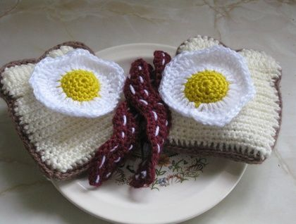 Crocheted Bacon and Eggs Play Food Set