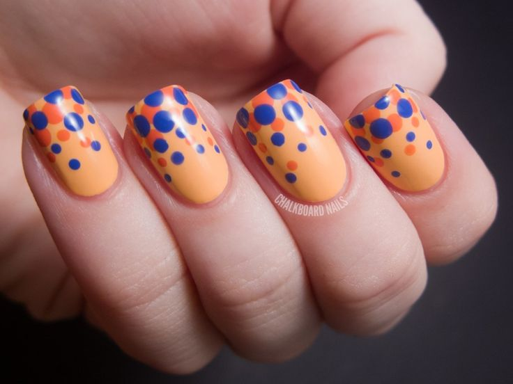 384 best nail designs i adore images on pinterest colorful blue and orange polka dot nail art designs sciox Image collections
