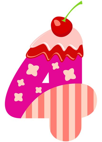 Sweet Number Four PNG Clipart Image