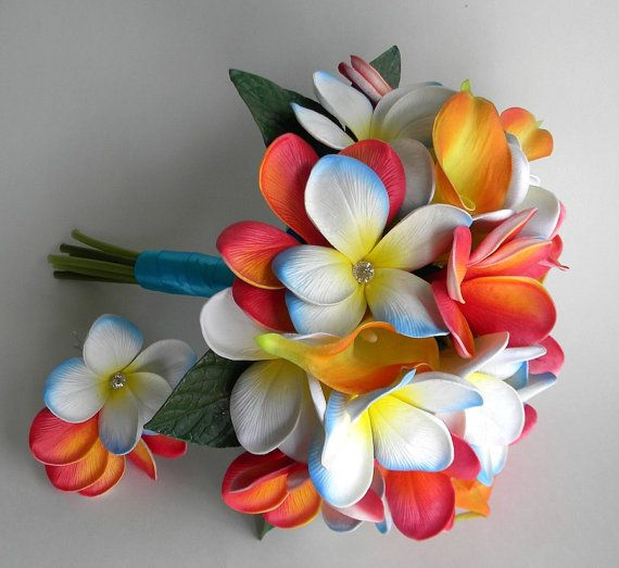 Playa Del Carmen Beach Bridal Bouquet with Real Touch Plumeria in Blue, White, Orange and Guava