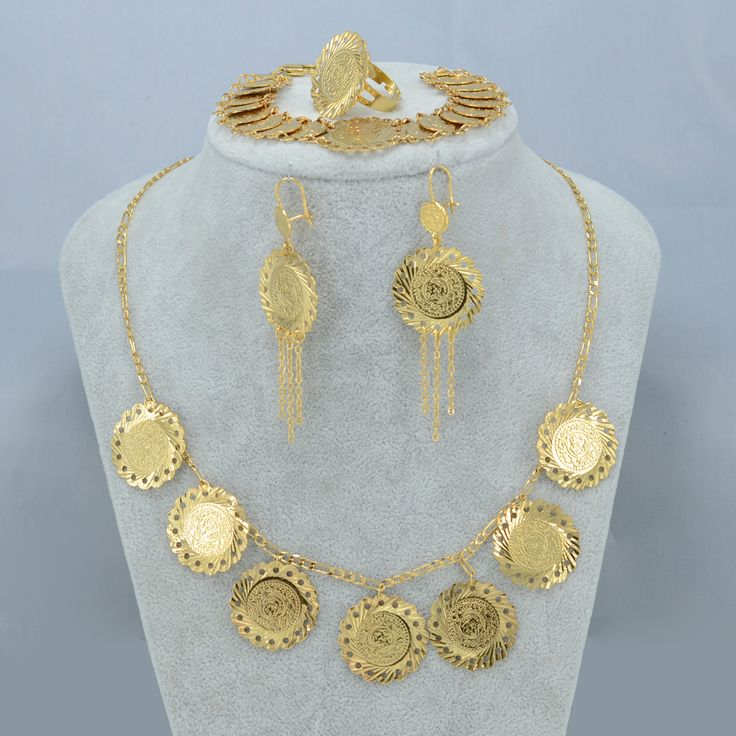 NEW Arab Metal Coin Jewelry set Necklace Earrings Bracelet Ring , Gold Plated Islamic Muslim Ancient Coin set Africa #003106