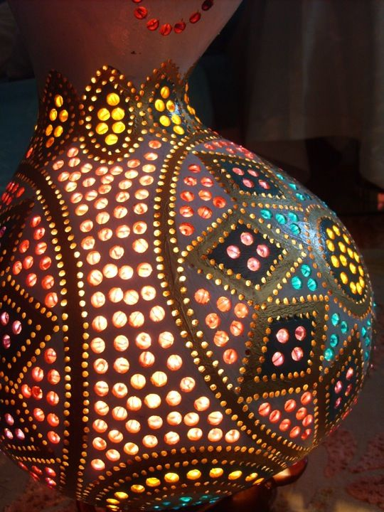 handmade in turkey Gourd Lamps