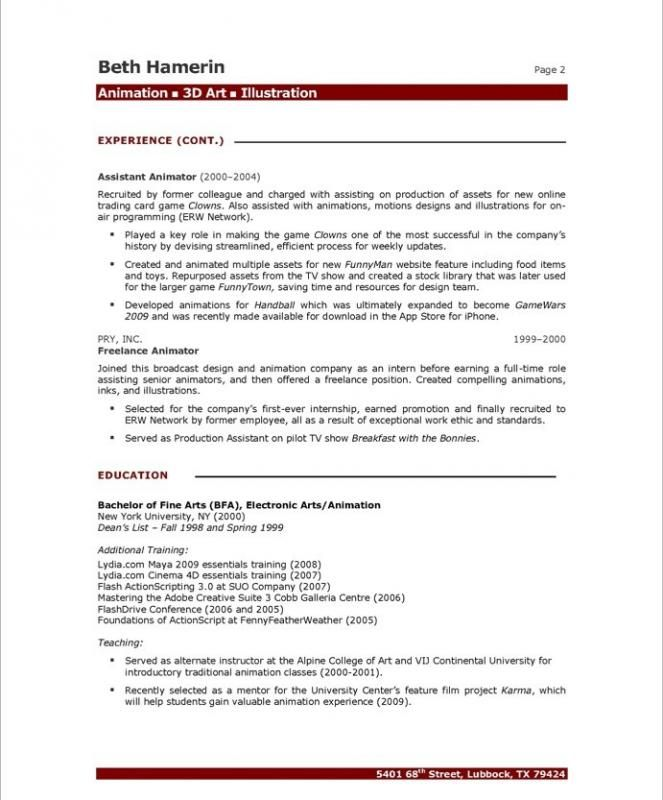 Resume Format 3d Animator Animator Format Resume Resumeformat Resume Format Resume Professional Resume Samples