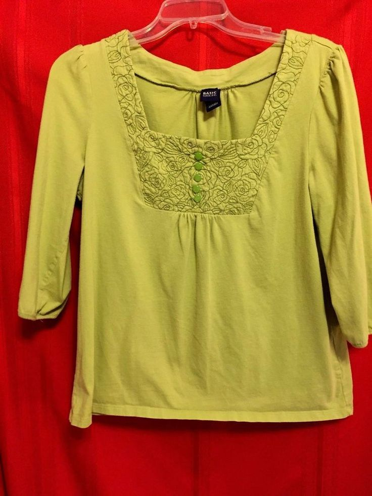 Basic Editions Green Smock Top Sq. Neck Stitching Trim and Green Buttons Size L  #BasicEditions #SmockBlouse #Career